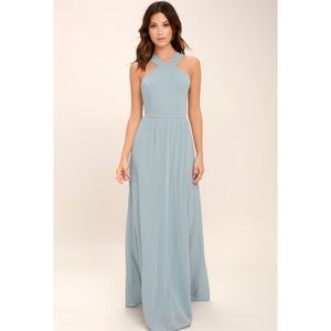 Lulus Air of Romance Light Blue Maxi Dress M NWT